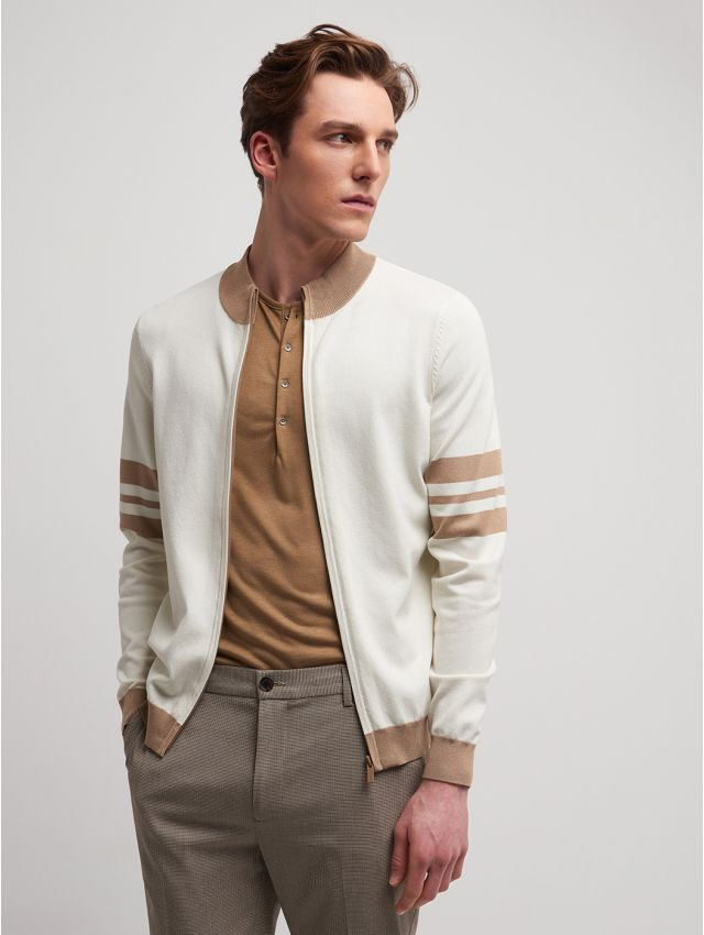 Cardigan homme col montant