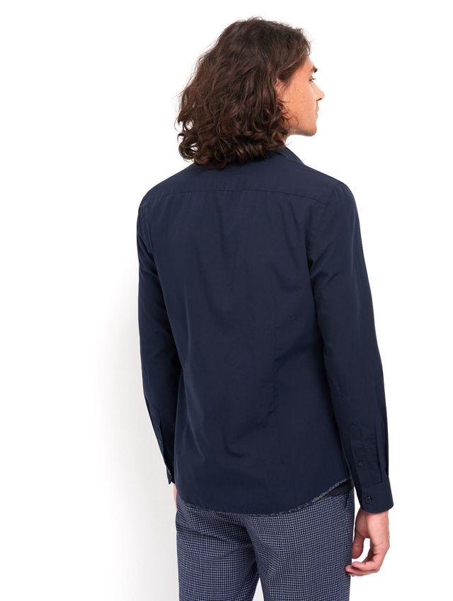 Chemise slim en fil-à-fil faux unie