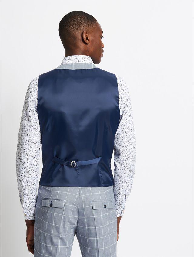 Gilet de costume bleu à carreaux