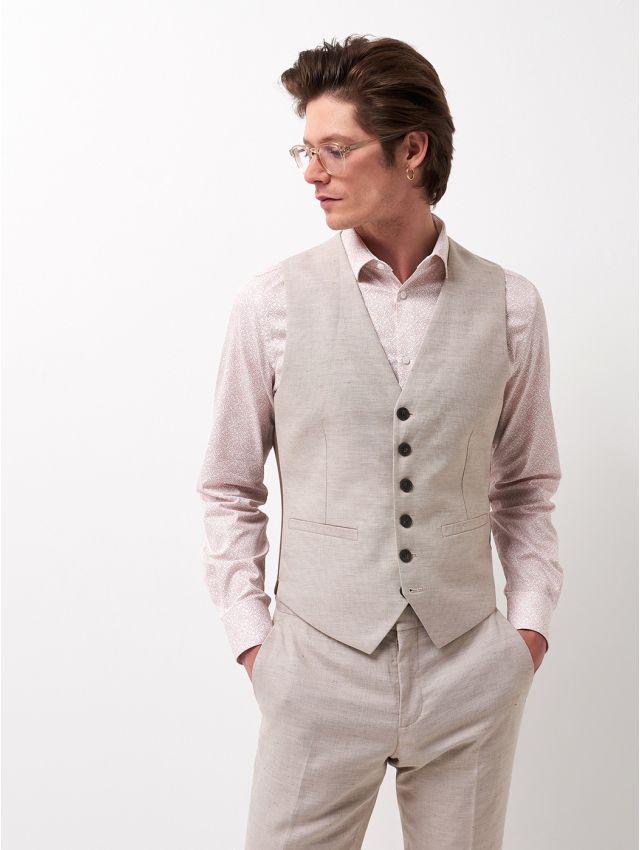 Gilet de costume coton & lin