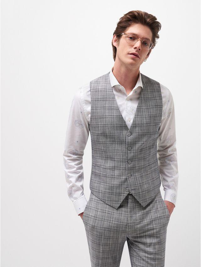 Gilet de costume prince de Galles gris