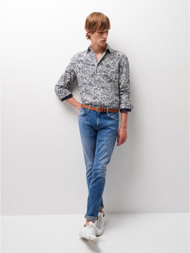 Jean regular en coton élasthane bleach