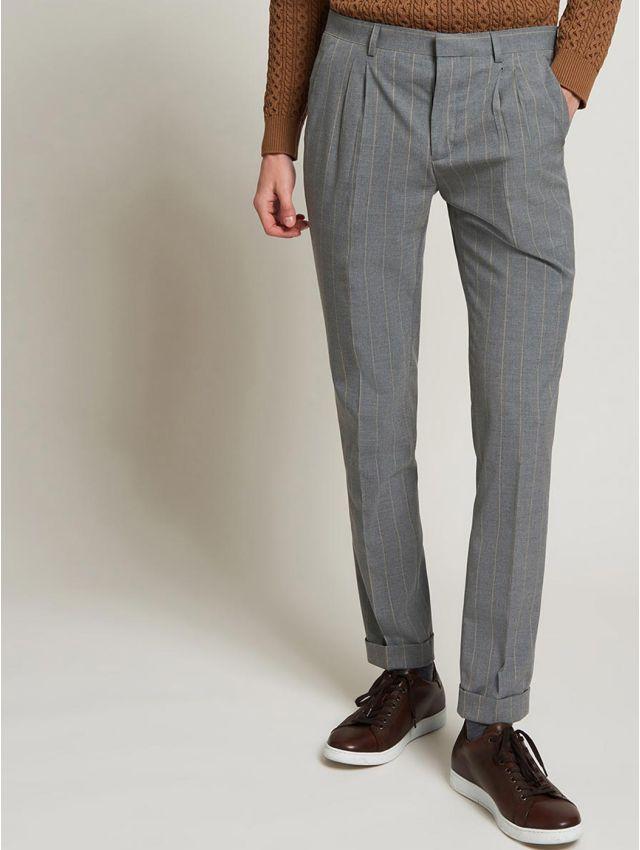 Panalon de costume gris à rayures beiges
