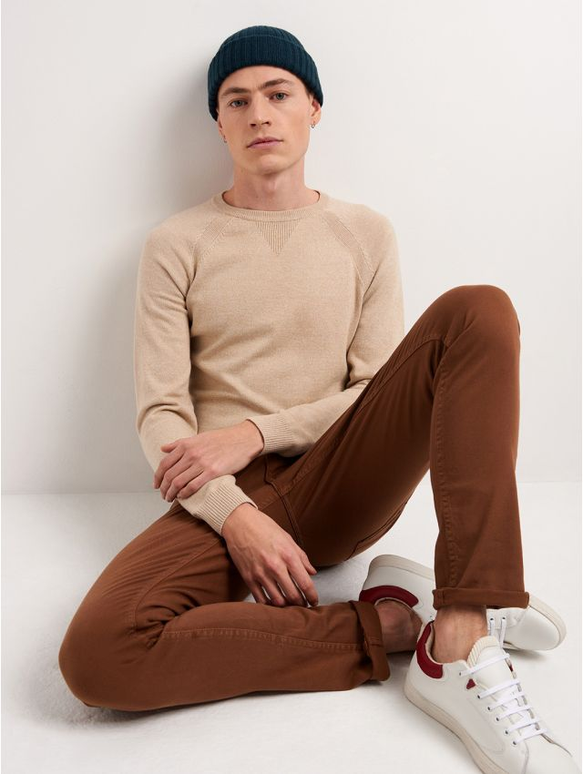 Jean couleur slim en coton élasthane uni