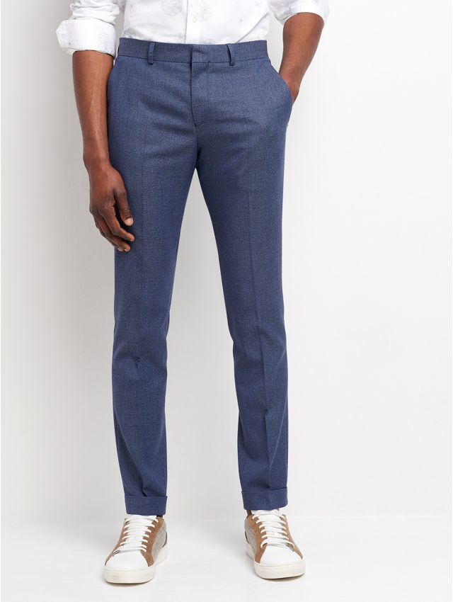 Pantalon de costume faux uni bleu/blanc