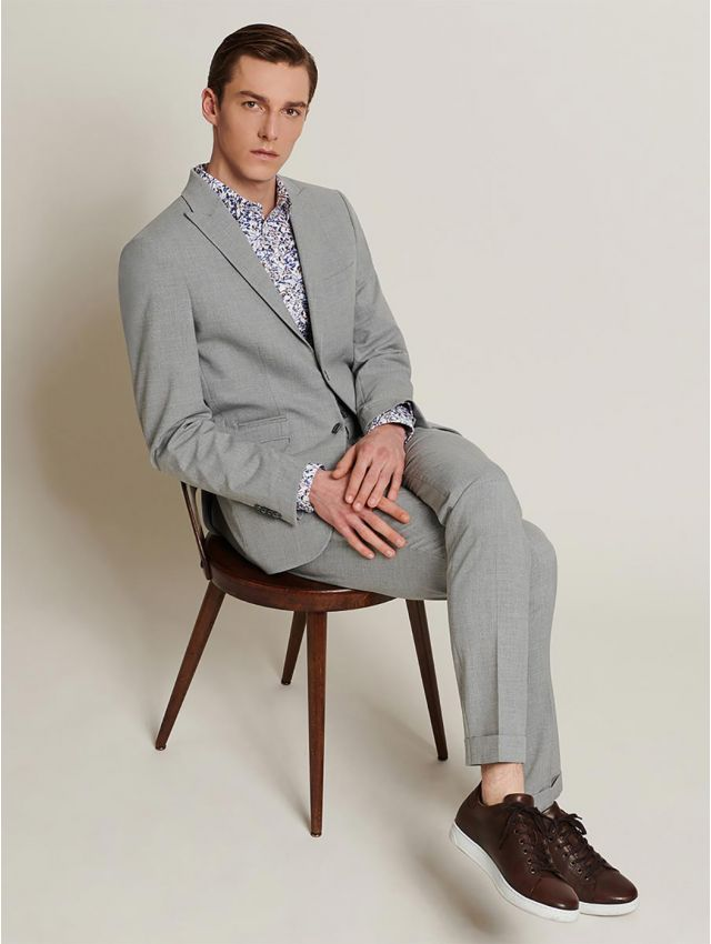 Pantalon de costume faux uni gris