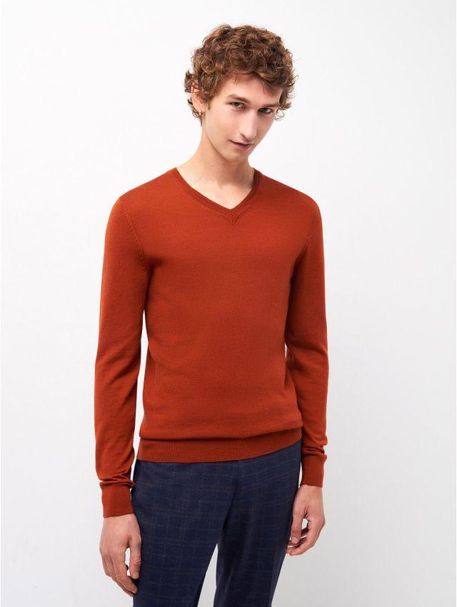 Pull col V en laine mérinos