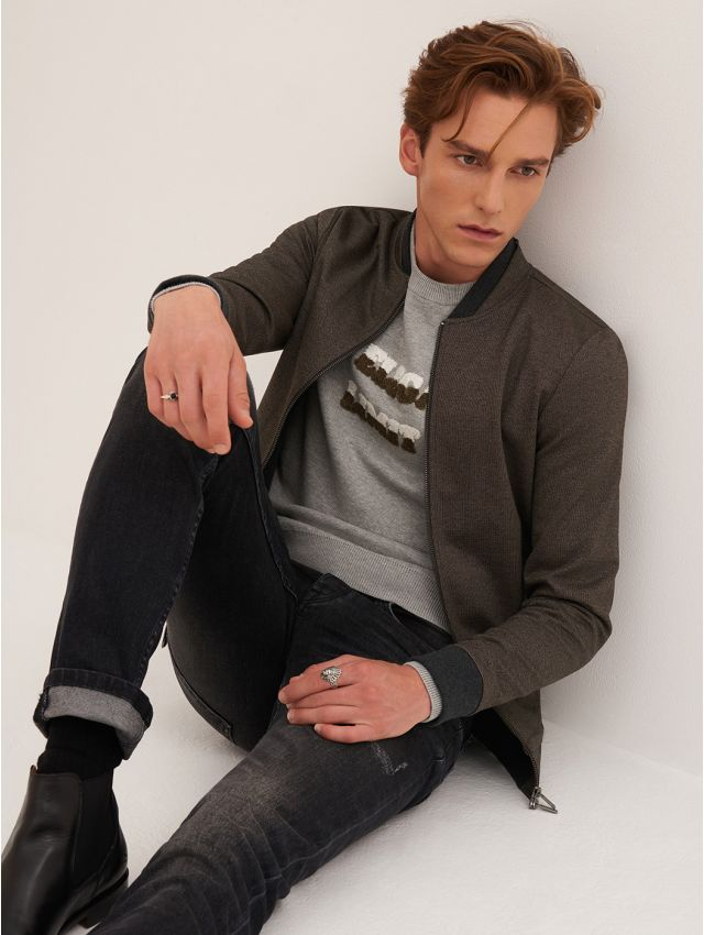 Pull homme casual col rond