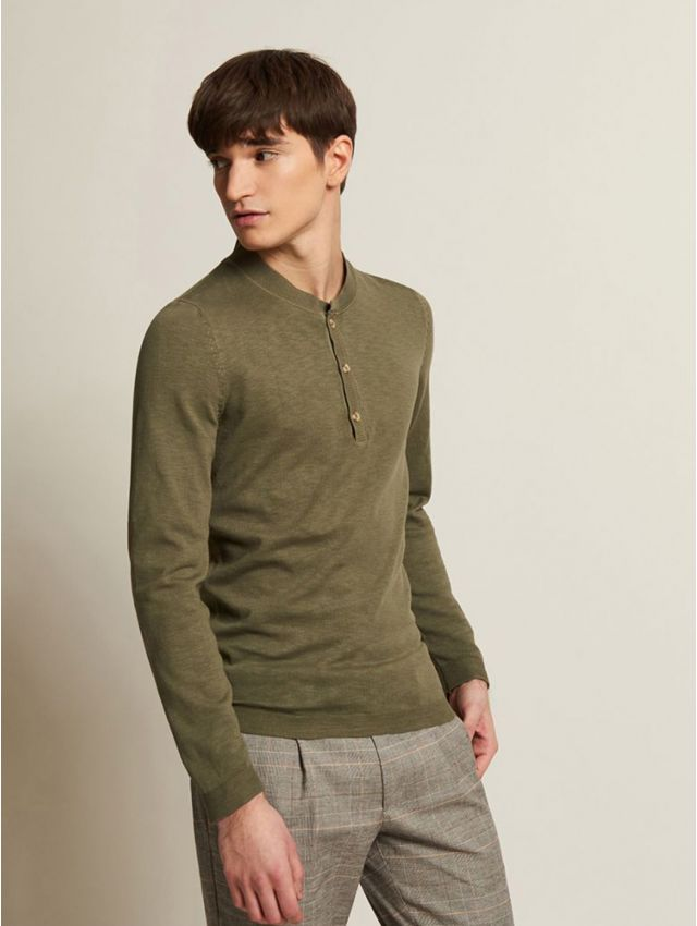 Pull homme casual col tunisien
