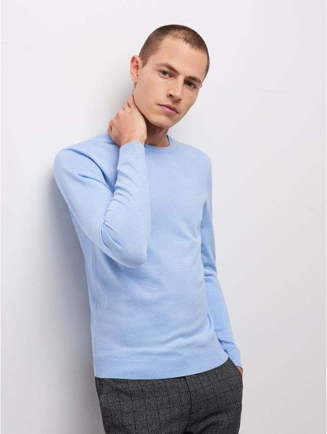 Pull homme uni col rond