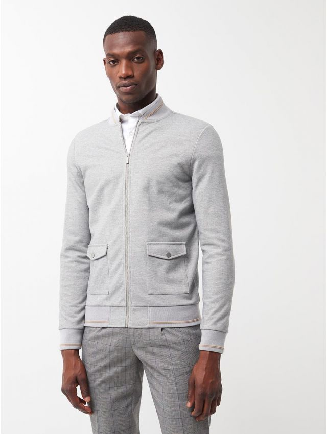 Sweat col bomber chiné