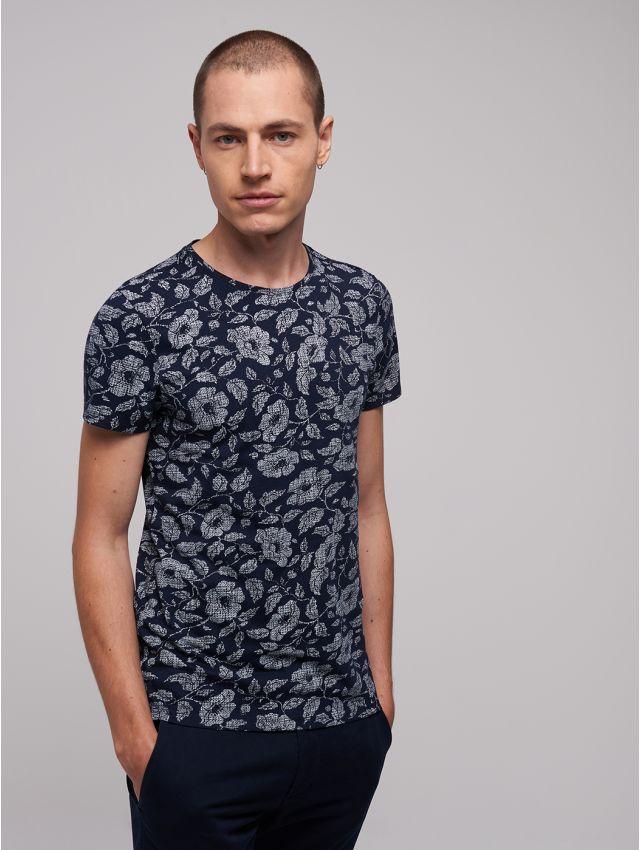 Tee shirt col rond imprimé fleurs