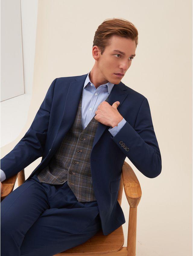 Veste de costume bleue stretch, confort