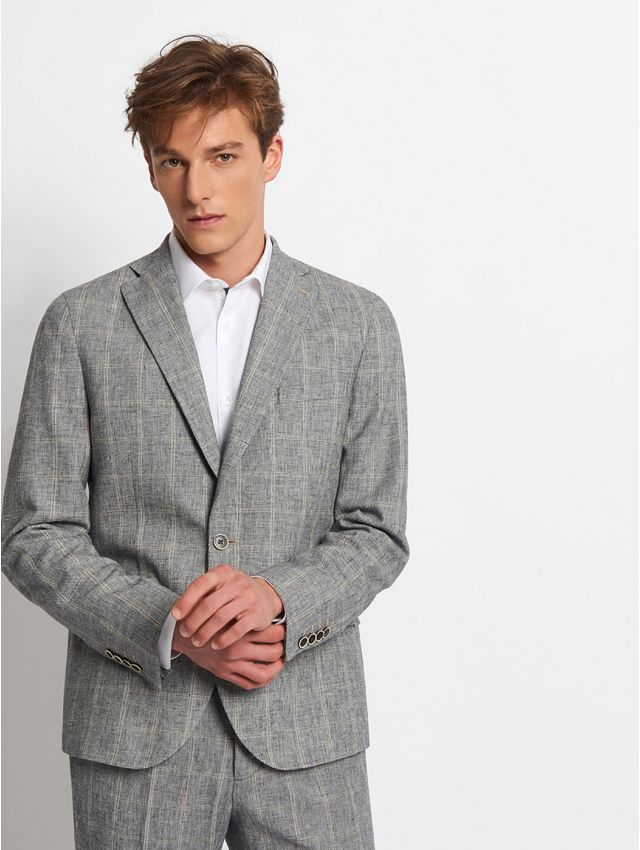 Veste de costume coton-lin à carreaux