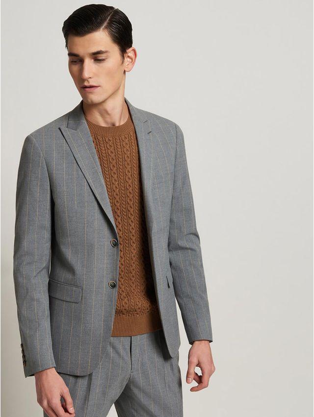 Veste de costume gris à rayures beiges