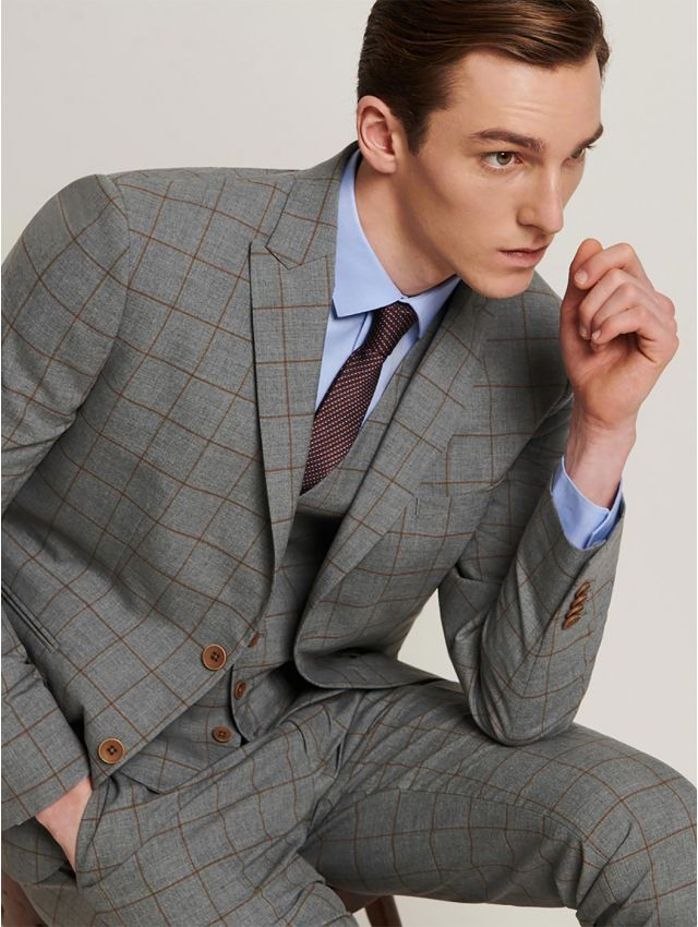 Veste de costume gris carreaux noisette