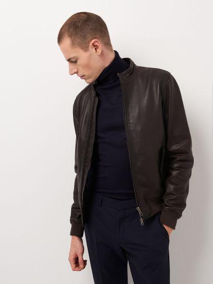 Blouson cuir homme uni - Image 1
