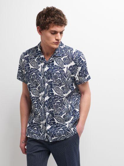 Chemise à manches courtes slim en lin - Image 1