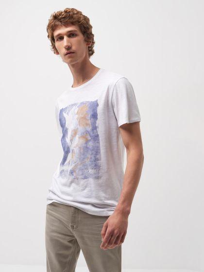 Tee shirt col rond à motif placé devant - Image 1