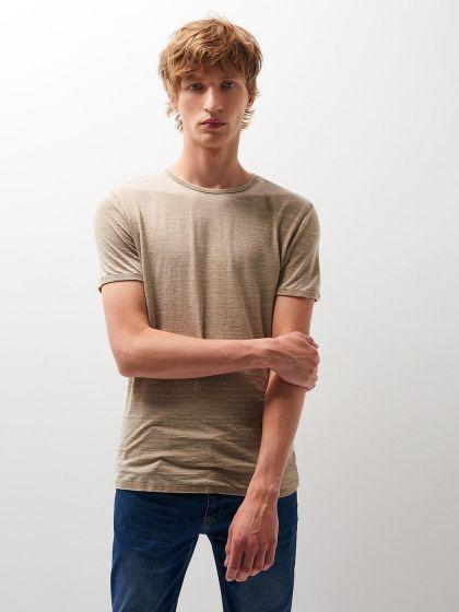 Tee shirt col rond uni délavé  - Image 1