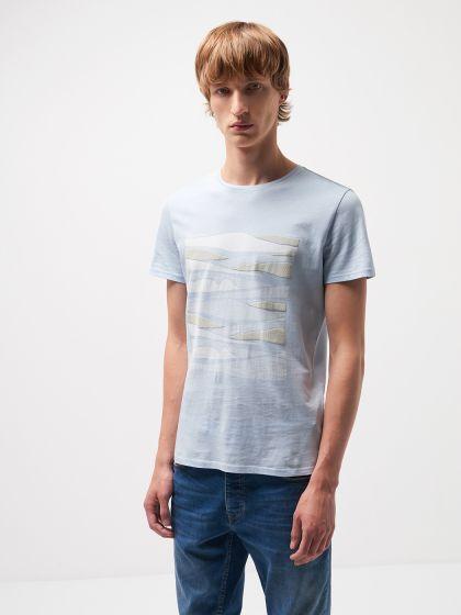 Tee shirt en coton à motif placé devant - Image 1