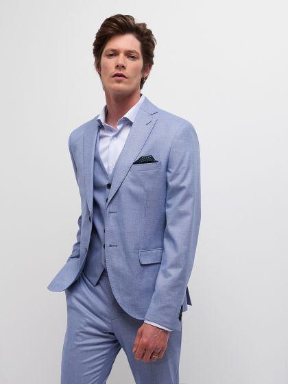 Veste de costume faux uni bleu/blanc - Image 1