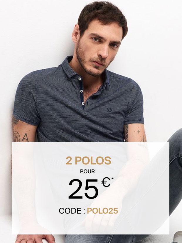 2 polos pour 25€ avec le code : POLO25